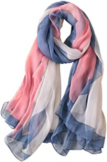 WYMAI Silk Scarf Women, Fashion Versatile Printed Silk Scarf, Geometric Color Matching Sunshade Scarf, Shawl Beach Towel Simple and Practical Product (Color : Blue)
