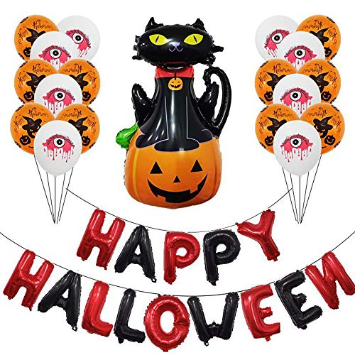 Aiwer Halloween Ballon Set,Halloween Bar Hangende Decoratie Horror Combinatie Ballon Viering vleermuizen, Pompoen Partij en Ballon Pomp