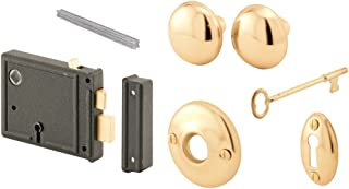 Prime-Line Products E 2478 Horizontal Trim Lock Set, 3-3/8 in. Backset, Cast Steel w/Brass Plated Knobs, Keyed Alike, Pack of 1 Set