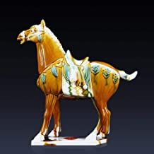 DSZXHN Statues for Home Decor,Creative Antique Chinese Porcelain Saddle Horse Animal Figurines Crafted Sculpture,Home Desktop Crafts Art Décor Statuettes for Indoor Living Room