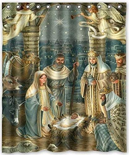 Shower Curtain, Shower Curtains Bathroom with Hooks, 180 x 180 cm, Waterproof Extra Long Heavy Shower Curtains Liners Anti-Bacterial Washable - Christmas Nativity Holy Family