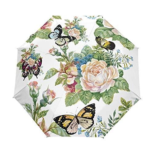Paraguas automático Tri-Plegable Colorido Paraguas señoras niños Parasol Paraguas de Sol Equipo de Lluvia Paraguas Plegable - Completamente automático