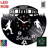 EVEVO Schalke Wanduhr RGB LED Pilot Wanduhr Vinyl Schallplatte Retro-Uhr Handgefertigt Vintage-Geschenk Style Raum Home Dekorationen Tolles Geschenk Uhr