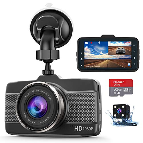 Photo of Claoner Dash Cams for Cars Front and Rear 1080P Full HD Dashcam, (32g Card Included) Dual Dash Cam with F1.8 Night Vision 170°Wide Angle Dashcams for Cars, Loop Recording, G-sensor, Parking Monitor