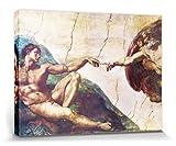 1art1 Michelangelo Buonarroti - La Creación De Adán, 1508-1512 Cuadro, Lienzo Montado sobre Bastidor (80 x 60cm)