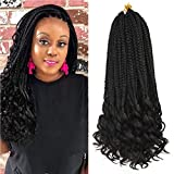 Refined Hair 6Packs 18Inch 3S Wavy Box Braids Crochet Braid Hair Extensions 22roots Black Color Synthetic Goddess Box Braids With Wavy Free End Crochet Braids (18inch,1B)