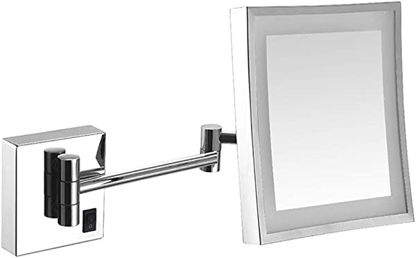 Wall Mounted Mirror Shaving Mirror LED Lighted Mirror Bathroom Mirror For Hotel Vanity Adjustable Extendable Square 8inch 3x Magnifying Surface Chrome Finish Sliver