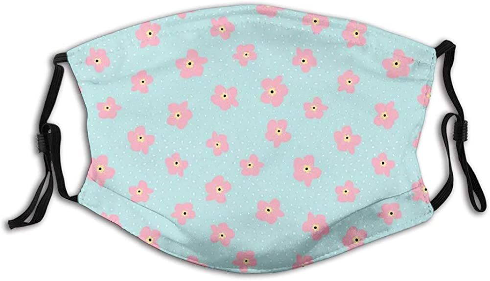 Scattered Rain Drops and Cherry Blossom Flowers on Aquatic Face Mask Reusable Washable Masks Cloth for Men and Women
