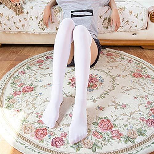 Calcetines largos a rayas Mujeres sobre los calcetines altos del muslo de la rodilla sobre las medias de la rodilla para las niñas de las damas calcetines de rodilla caliente (Color : 01 Pure White)