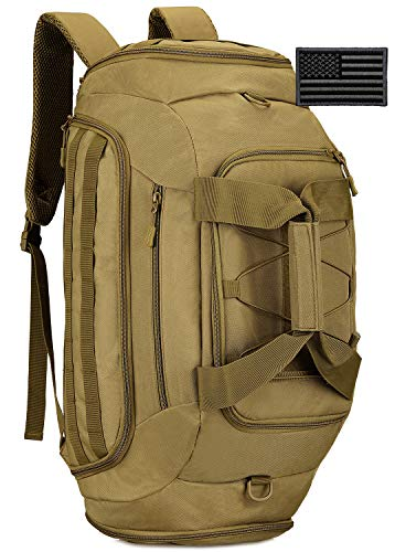 Protector Plus Tactical Duffle Bag Men Sports Gym Backpack Military MOLLE Luggage Suitcase Travel Camping Outdoor Rucksack (Rain Cover & Patch Included), Brown, 45L