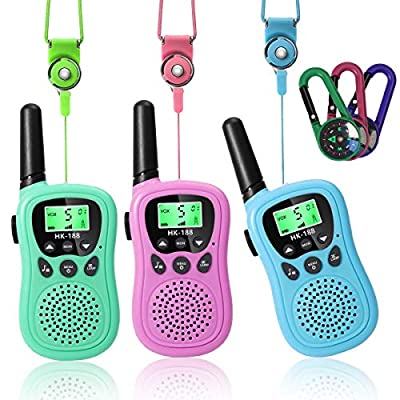 Walkie Talkies for Kids 22 Channels 2 Way Radio Toy with Backlit LCD Flashlight, Toys for 3-12 Year Old, 3 Miles Range for Outside Adventures - 2 Colors by LC-dolida