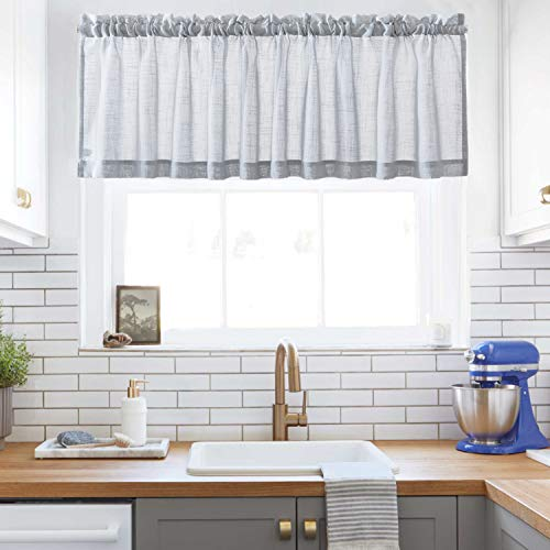 Grey SheerCurtains Valance Semi Sheer WindowCurtain for Kitchen Café Half Window Curtains Rod Pocket (W60 x L16, 1 Panel)
