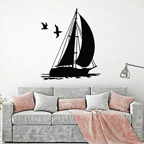 Autocollant Mural Sailor Ship Sticker Mural Bateau Yacht Nautique Mouette Thème Marin Vinyle Fenêtre Autocollant Enfants Chambre Salle De Bain Décoration Murale-74X88 Cm