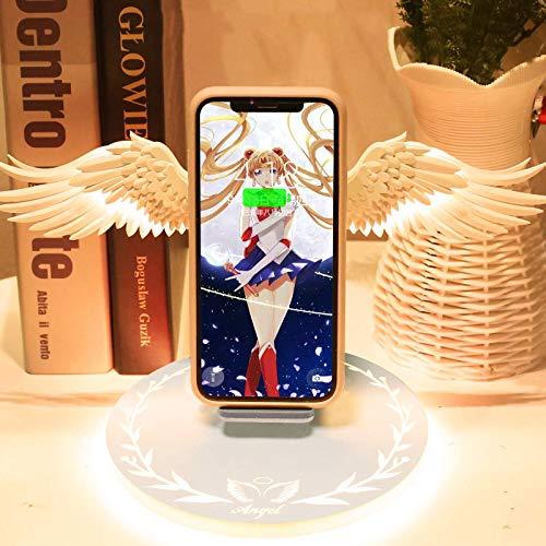 Cargador inalámbrico de alas de ángel de diseño creativo, compatible con la estación de carga inalámbrica QI, adecuado para...