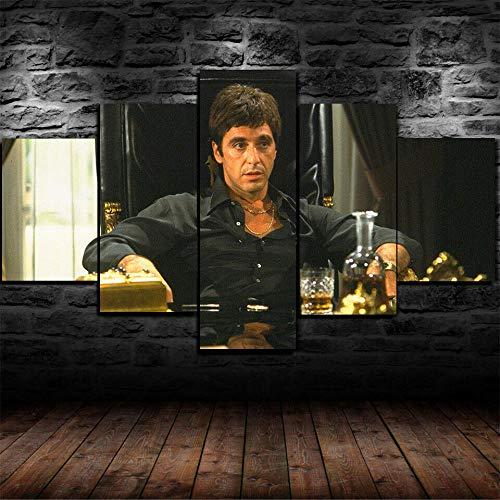 GIRDSSA Prints On Canvas ArtworkScarface Tony Montana Gangster 5 Piece Hd Wallpapers Art Canvas Print Modern Poster Modular Art Painting Living Room Home Decor