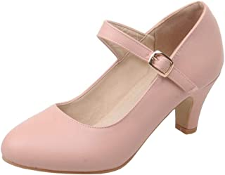 LUXMAX Womens Kitten Heel Mary Janes Ankle Strap Pumps Uniform Dress Shoes