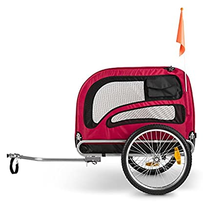 Duramaxx King Rex Dog Trailer - 250 Litre Cargo Space, Up to 40 kg, Powder Coated Steel Tube, Stable, Ideal for Small to Medium Sized Dogs, Folds up for Compact Storage, Black/Red 3