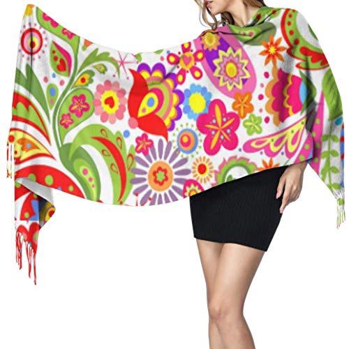 PQU Awesome Papel pintado decorativo Flores étnicas coloridas Paisley Bufanda grande y...