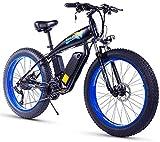 Bici electrica, 26 pulgadas bicicleta eléctrica for el adulto Fat Tire 350W48V15Ah nieve bicicleta eléctrica 27 de velocidad hidráulico del freno de disco 3 modos de trabajo adaptable a la montaña E-B