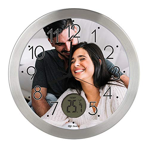 Gran Reloj de Pared Carcasa de Aluminio Cepillado Personalizado con Imagen o Logo (Esfera A) · Mecanismo Silencioso ?Sweep? · Reloj Cocina Pared con Termometro · Incluye Caja de Individual