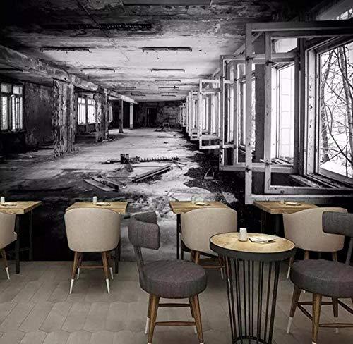 3D-behang, vliesbehang, fotobehang, 3D-fotobehang, creatieve ruimte, wit en zwart, fabriek, graffiti, kunst, wanddecoratie, restaurant cafe 200*140 200*140