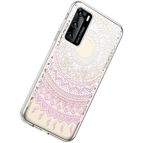 Herbests Kompatibel mit Huawei P40 Hülle Silikon Weich TPU Handyhülle Durchsichtige Schutzhülle Niedlich Muster Transparent Ultradünn Kristall Klar Handyhülle,Mandala