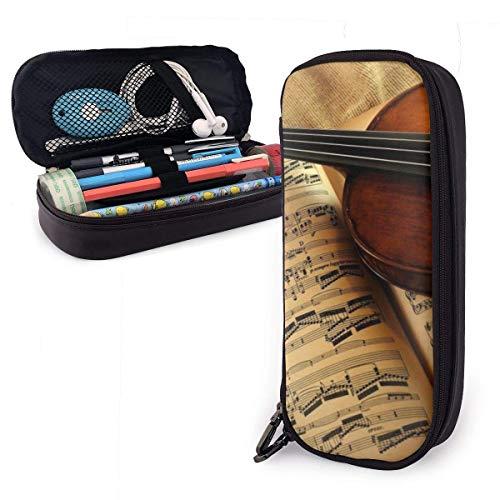 Violine Vintage PU Leder Federmäppchen, große Kapazität Stifttasche, langlebige Studenten Briefpapier Organizer mit doppeltem Reißverschluss