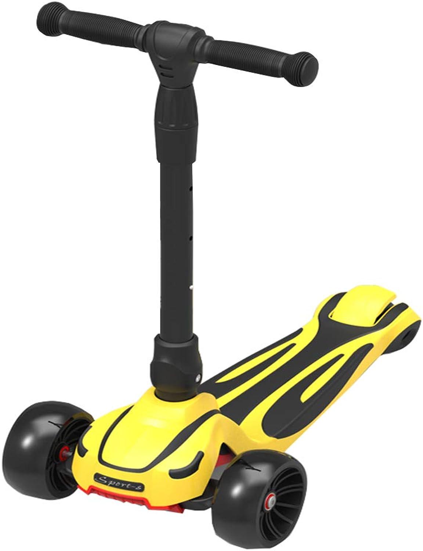 LJXin-Dreiradscooter Kinder-Tretroller von 3 bis 15 Jahren Geeignet für Kinder mit beliebigem Schwierigkeitsgrad Verstellbarer Griff Extra breite Plattform PU-Blinkrder Faltbares Design