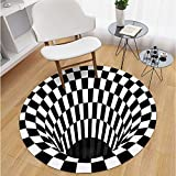 N/G 3D Round Carpet 3D Vortex Optical Illusion Rug Durable Anti-Slip Floor Mat Non-Woven Black White Doormat for Living Dinning Room Bedroom Kitchen 8080cm/31.5031.50in