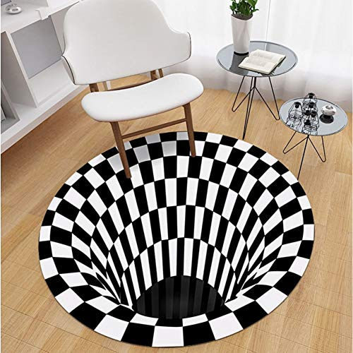 N/G 3D Round Carpet 3D Vortex Optical Illusion Rug Durable Anti-Slip Floor Mat Non-Woven Black White Doormat for Living Dinning Room Bedroom Kitchen 6060cm/23.6223.62in