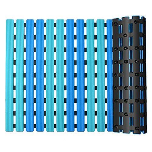YISUN Alfombra de Baño Antideslizante con Ventosas, Drenaje Rápido Listón Acanalado, Tablero de Pato Cuadrado de Textura Suave Alfombra de Ducha Antibacterial para Cocina Piscina (Azul, 63 x 40 cm)