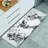 DYCBNESS alfombras de cocina antideslizantes lavables,Garabatos de bandas de jazz Banda de jazz dibujada a mano con un trompetista, bajista y saxofonista,felpudos para interiores y exteriores 45x120cm