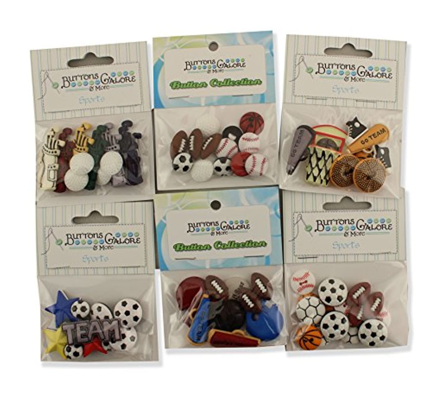 Buttons Galore Sports Button Theme Packs-Set of 6