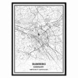 Bamberg Deutschland Karte Wandkunst Leinwand drucken Poster