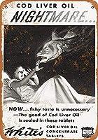 ブリキ看板1933ホワイトのタラ肝油タブレットグッズウォールアート