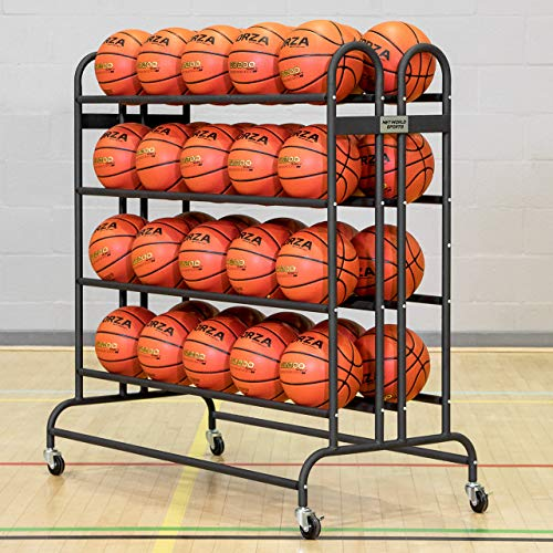 FORZA Basketball Ballregal aus Stahlrohr - der perfekte Ballwagen für Sporthallen, Schulen und Sportsclubs - EIN Sportsgeräte-Regal - 20 oder 40 Bälle Kapazität (40 Bälle Kapazität)