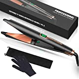 YiJiaBa 30 Millions+ Ionic Hair Straightener and Curler 2 in 1, Professional Flat Iron for Hair Straightening Curling, Adjustable Temp with Digital LCD Display, Dual Voltage, Instant Heating