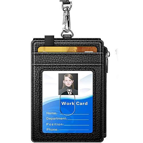 CHUCKSSS-DS-00014 - Porta badge con cerniera, in pelle PU, con tasche per contanti, scomparti per carte di credito e cordino staccabile, con cerniera, verticale, colore: nero