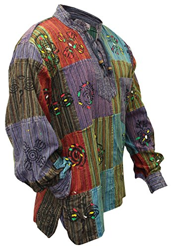 SHOPOHOLIC FASHION Herren Patchwork Stonewashed Hippie Hemd Gr. L, mehrfarbig