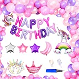ユニコーンバルーン ユニコーンカチューシャ付き 誕生日飾り付け 誕生日バルーン 誕生日デコレーション HAPPY BIRTHDAYデコレーション 3Dユニコーン パーティー風船セット