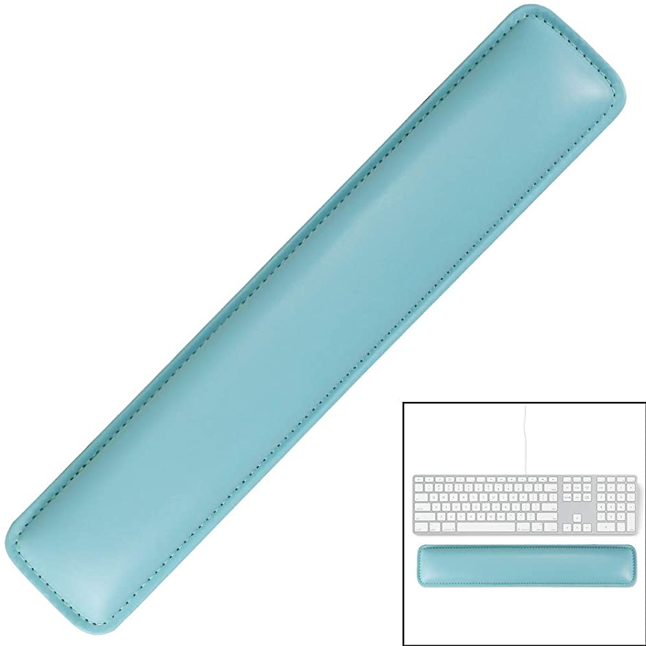 Keyboard Wrist Rest Pad,Soft PU Leather Wrist Support with Interior Soft Cushion Foam for Office/Computer/Laptops/MacBooks,Easy Typing & Pain Relief,Light Blue