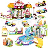 Miniature Coffe Shop Friends Pool Party Creative Building Toy Set for Kids, Includes Toy Juice Bar and Wave Machine Roleplay Xmas Gift for Girls and Boys Festival Birthday with Storage Box 1140 Pieces