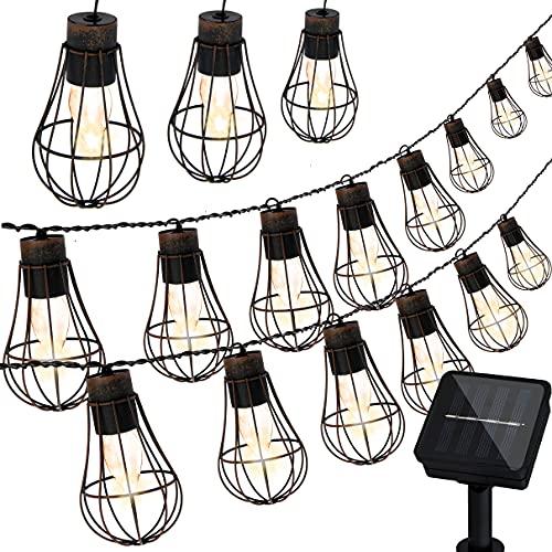 Lichterkette Außen Solar, Girlande 3.8M, Laternen für Draußen, 10 Warmweiße LED Glühbirnen mit Metall Laterne für Garten, Dekorative Lichter der Ambiente Vintage Lichterketten für Café