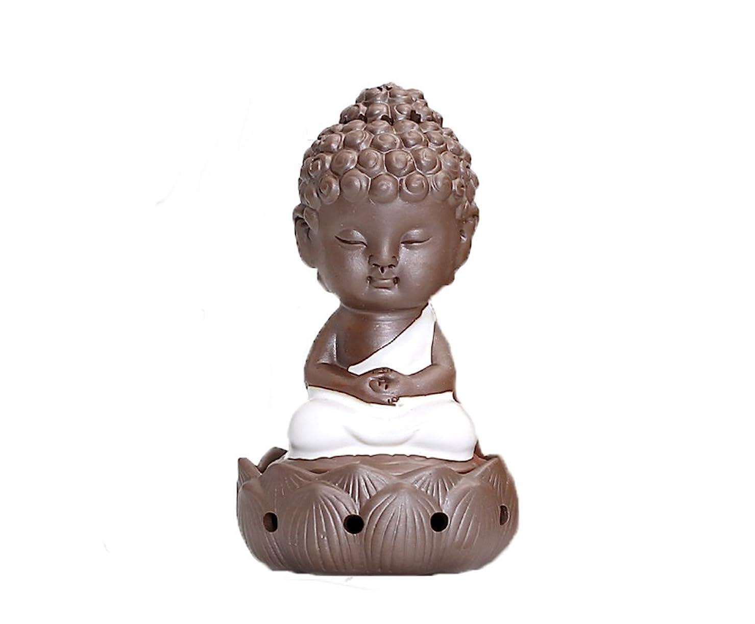 香炉 陶器 お香 ホルダー 巻香 お香立て付き セラミック 癒やし仏 飾り香炉 (ホワイト)
