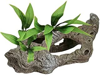 Exotic Environments Rock Tunnels with Silk Style Plants Aquarium Ornament