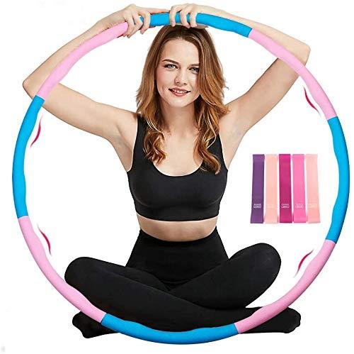 trounistro Fitness Hula Hoop,Massage Hoola Hoop Reifen Einstellbares Gewicht und Größe für Sport/Zuhause/Bauchformung mit 5-Farben-Silikon-Spannband-4 Blauen und 4 Rosa Hula Hoop Reifen