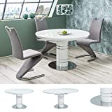 MHF Stratos Table extensible 120 à 160 x 120 cm Forme ronde Blanc brillant