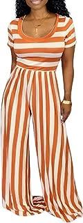 Akk Womens Striped Print Short Sleeves Round Neck Elastic Waist Bodycon Wide Leg Long Pants Jumpsuits Rompers
