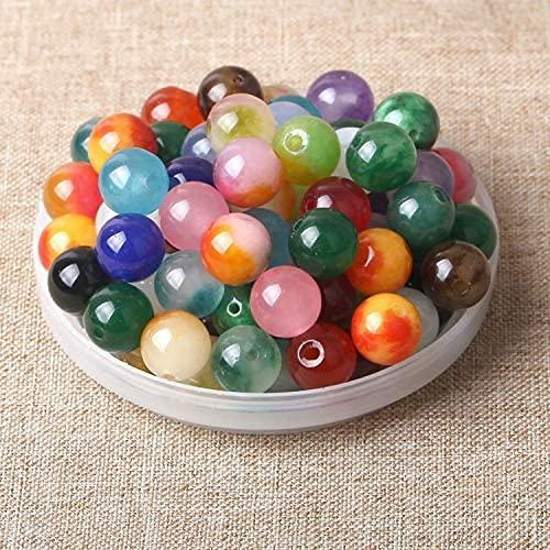 100 unidades de piedras semipreciosas, redondas, naturales, piedras preciosas, piedras curativas, piedras semipreciosas, perlas para manualidades, 10 mm