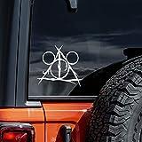 Vool Mickey Deathly Hallows HP Sticks Decal Vinyl Sticker Cars Trucks Vans Walls Laptop White 5.5'